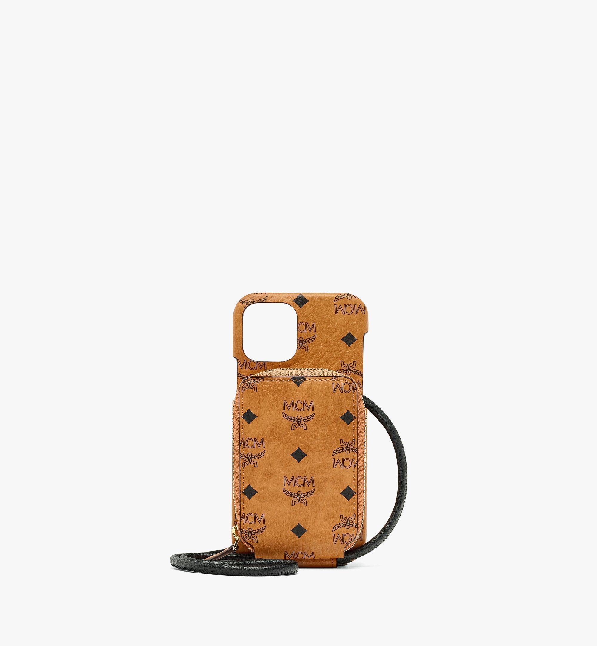 MCM iPhone 12/12 Pro Case with Zip Pocket in Visetos Original Cognac MXEBAVI01CO001 Alternate View 1