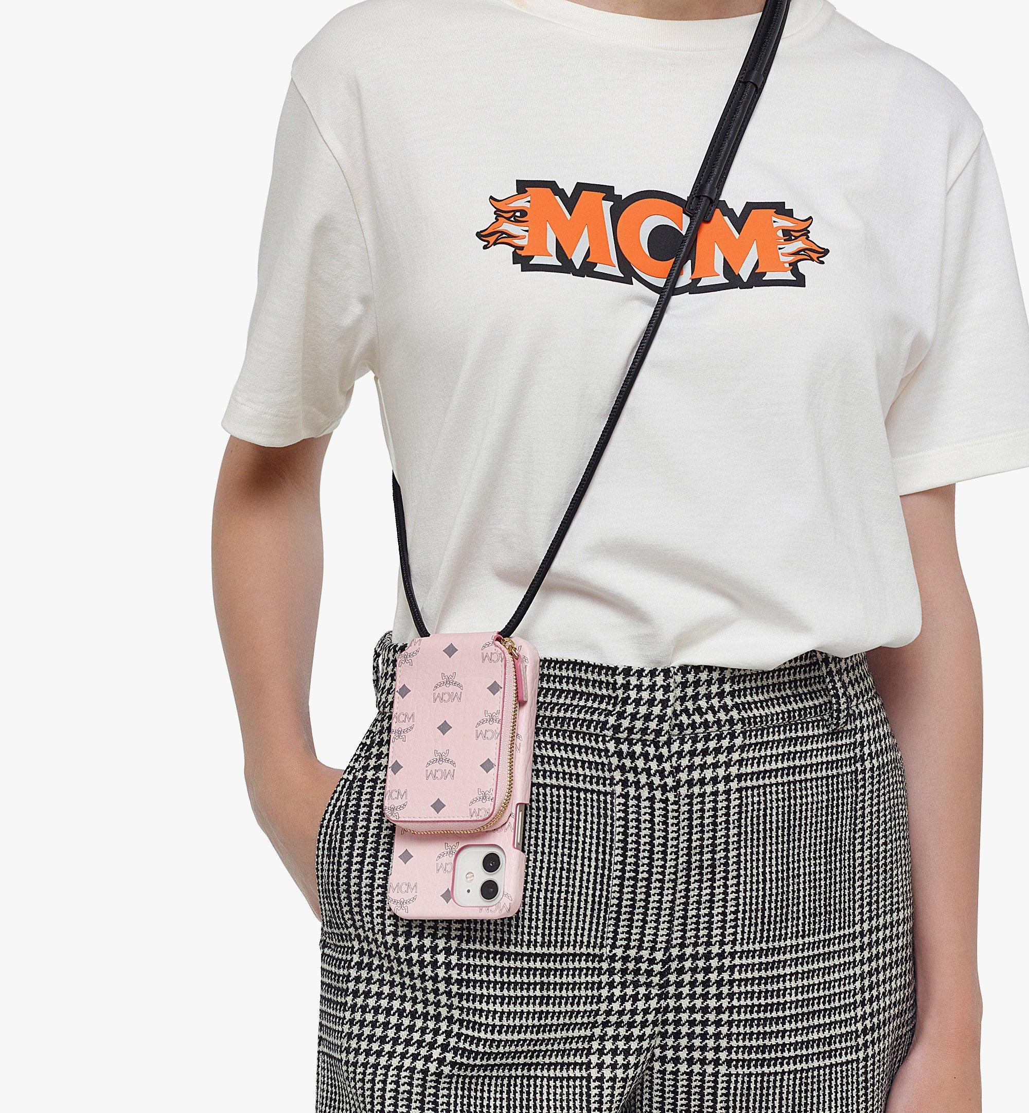 MCM iPhone 12/12 Proケース ジップポケット付き - Visetos Original Pink MXEBAVI01QH001 ほかの角度から見る 2
