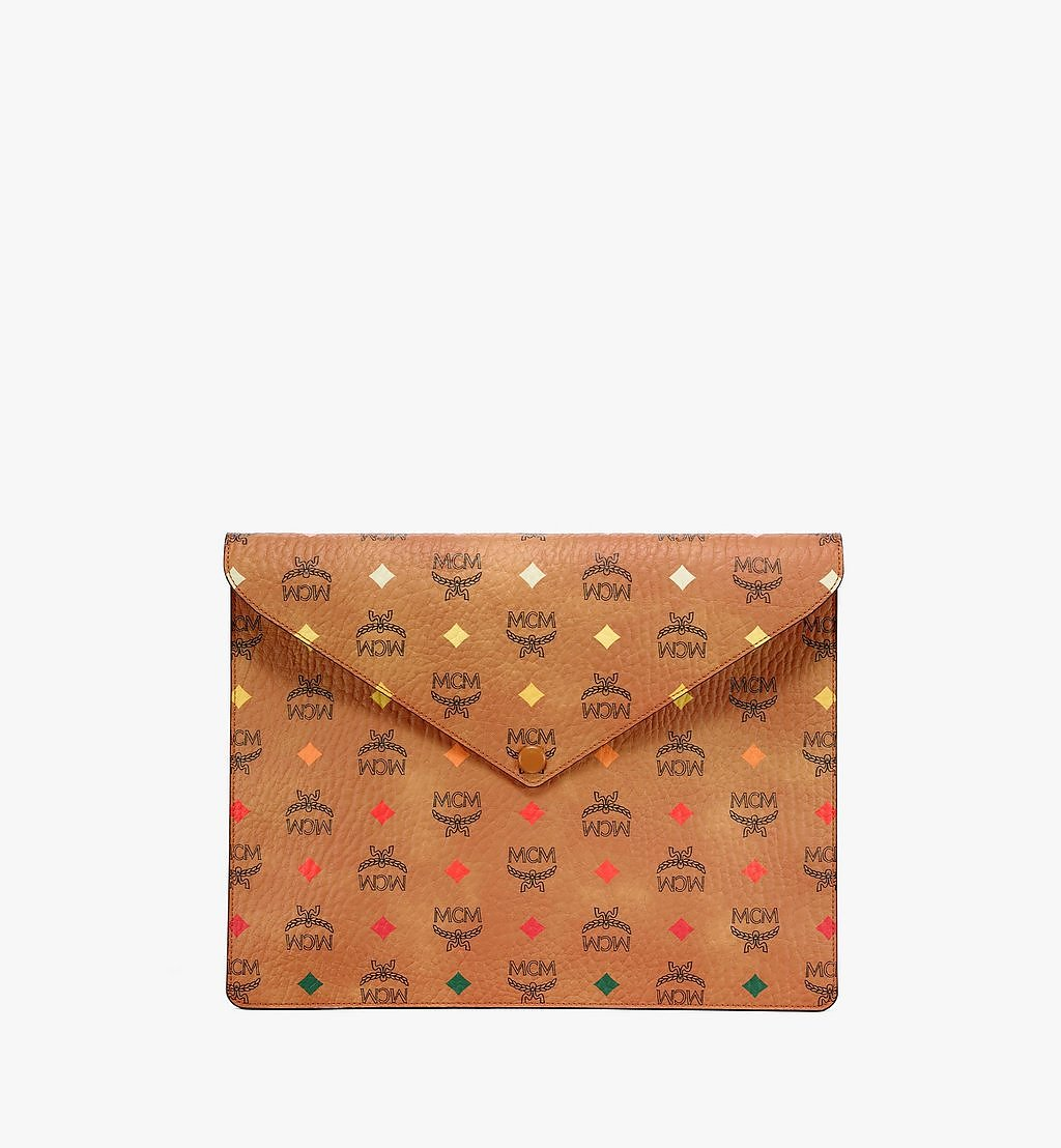 "MCM 13"" iPad Sleeve in Skyoptic Visetos Cognac MXEBSSV03CA001 Alternate View 1"