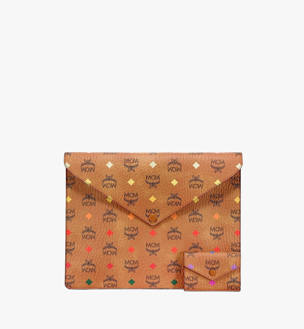 "MCM 13"" iPad Sleeve in Skyoptic Visetos Cognac MXEBSSV03CA001 Alternate View 3"