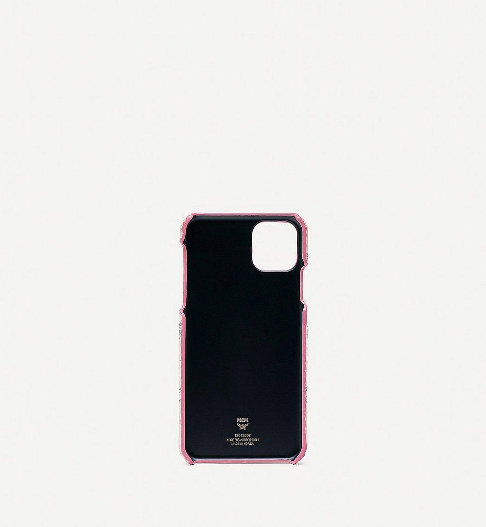 MCM iPhone 11 Pro Max Case in Valentine Visetos Leather Mix Pink MXEBSVI08QH001 Alternate View 1