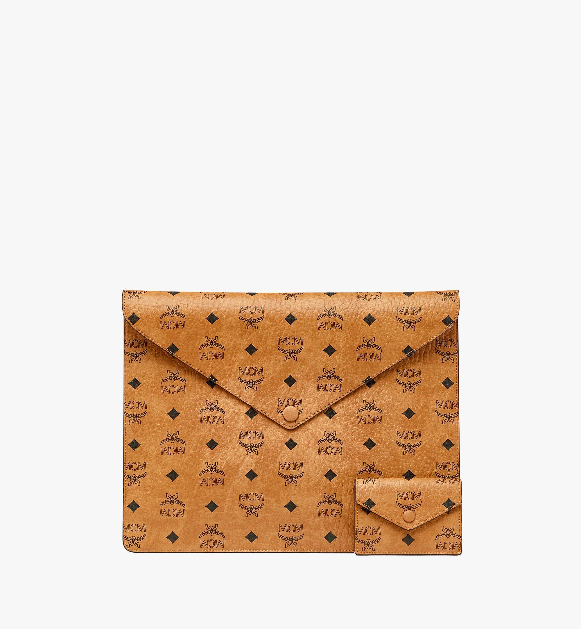 "MCM 13"" iPad Sleeve in Visetos Original Cognac MXEBSVI12CO001 Alternate View 1"