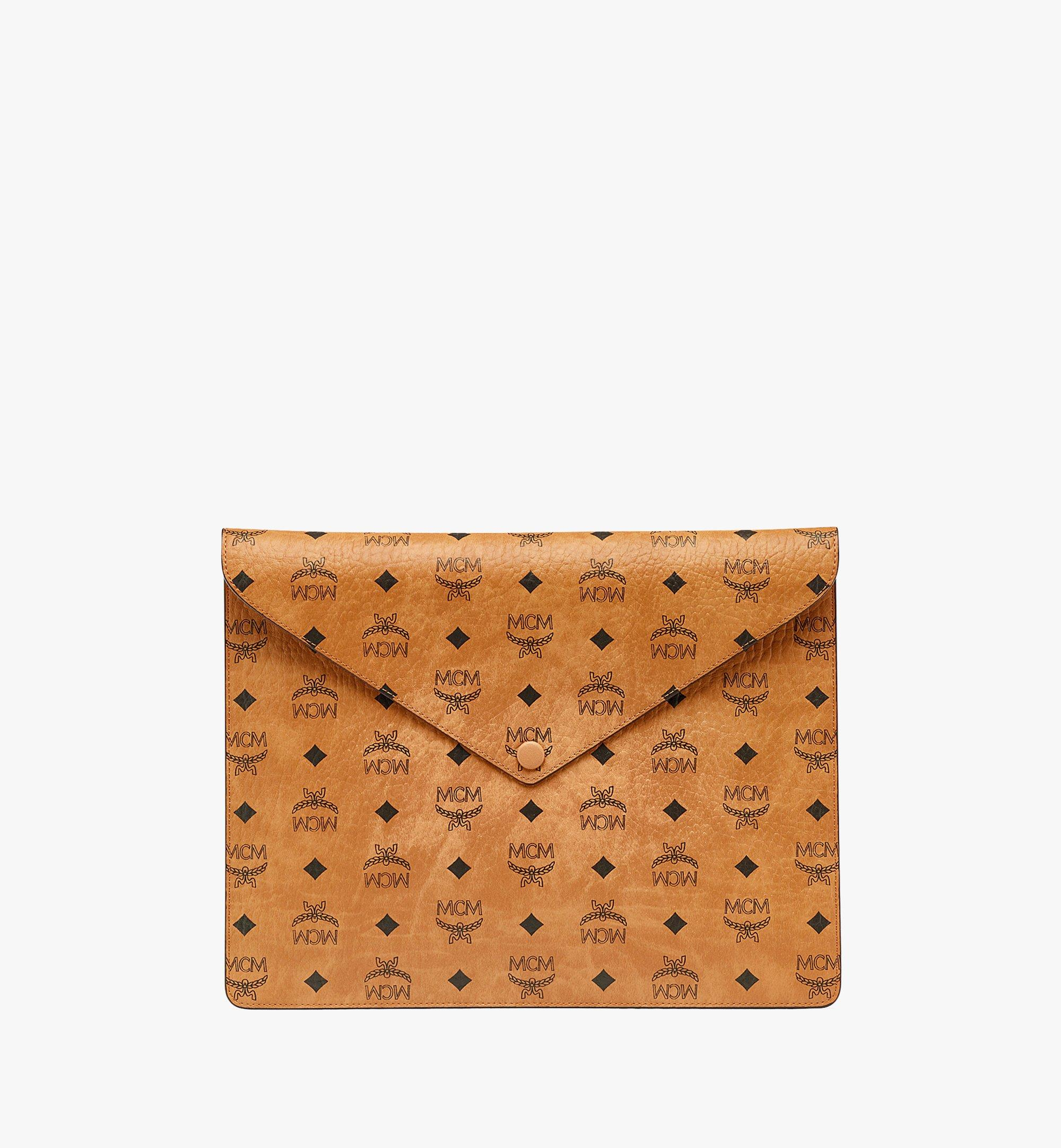 "MCM 13"" iPad Sleeve in Visetos Original Cognac MXEBSVI12CO001 Alternate View 2"