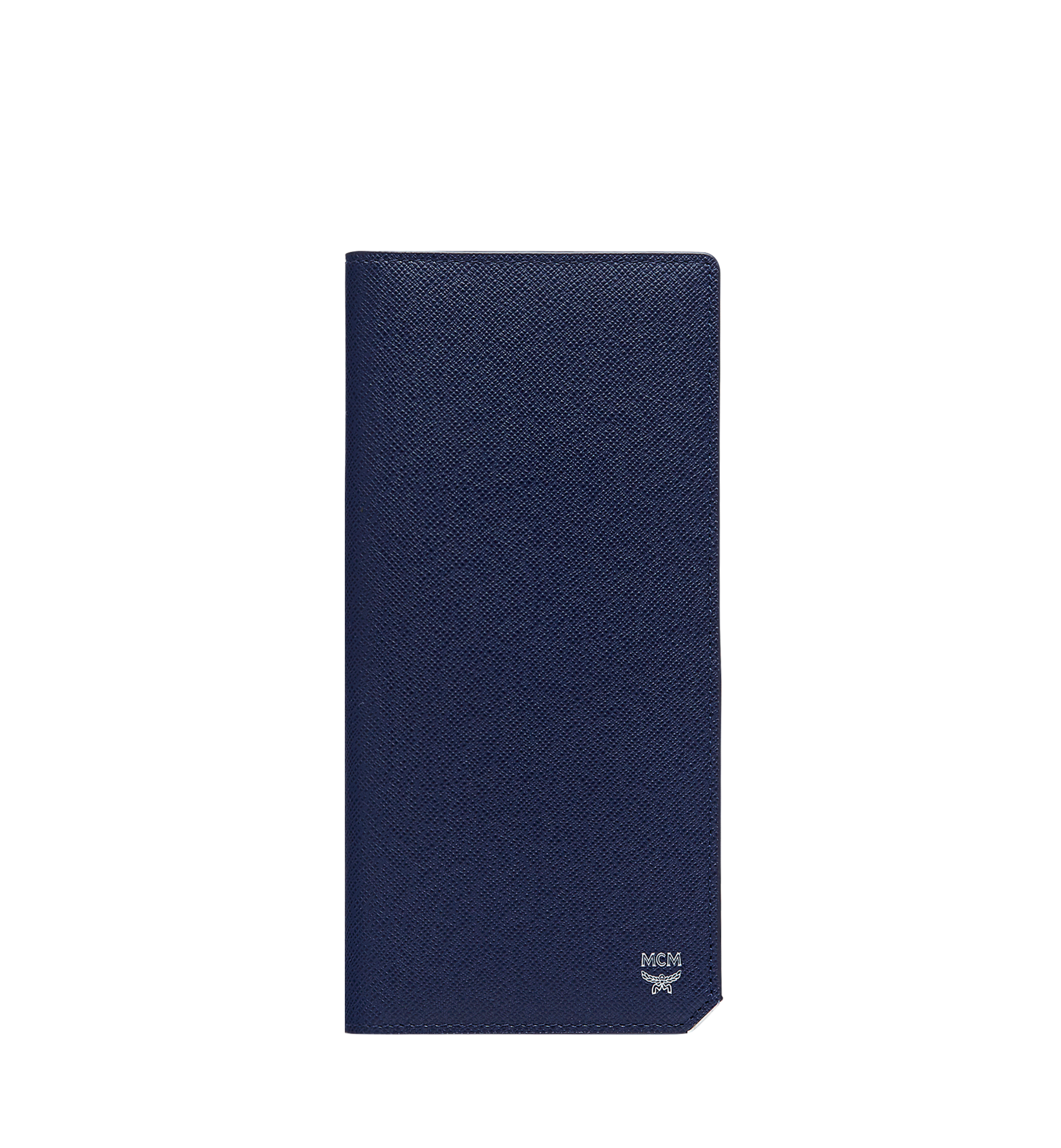 MCM New Bric Long Two Fold Wallet in Embossed Leather Navy MXL8ALL50VY001 Alternate View 1