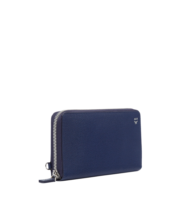 MCM New Bric Zip Wallet with Wrist Strap in Embossed Leather Blue MXL8ALL51VY001 Alternate View 2