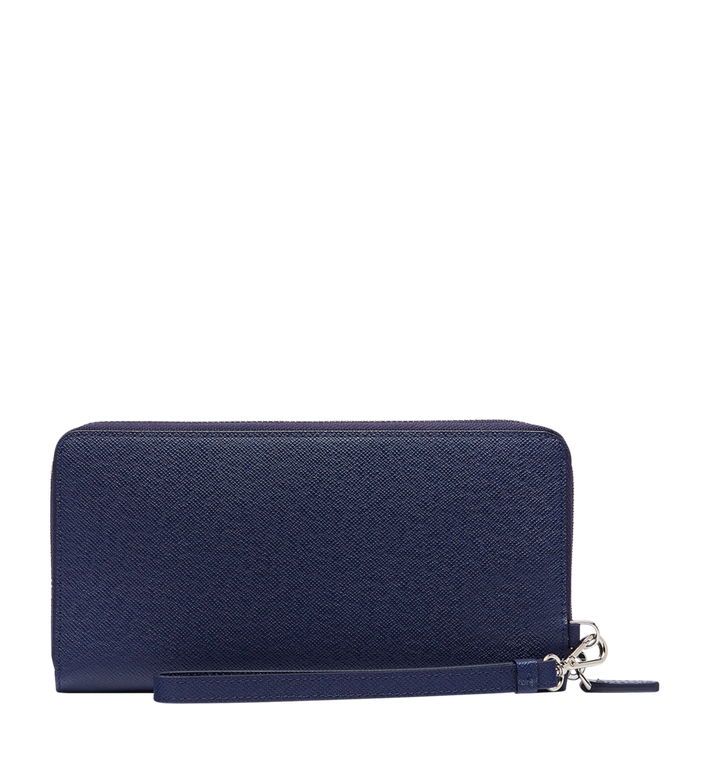 MCM New Bric Zip Wallet with Wrist Strap in Embossed Leather Blue MXL8ALL51VY001 Alternate View 3