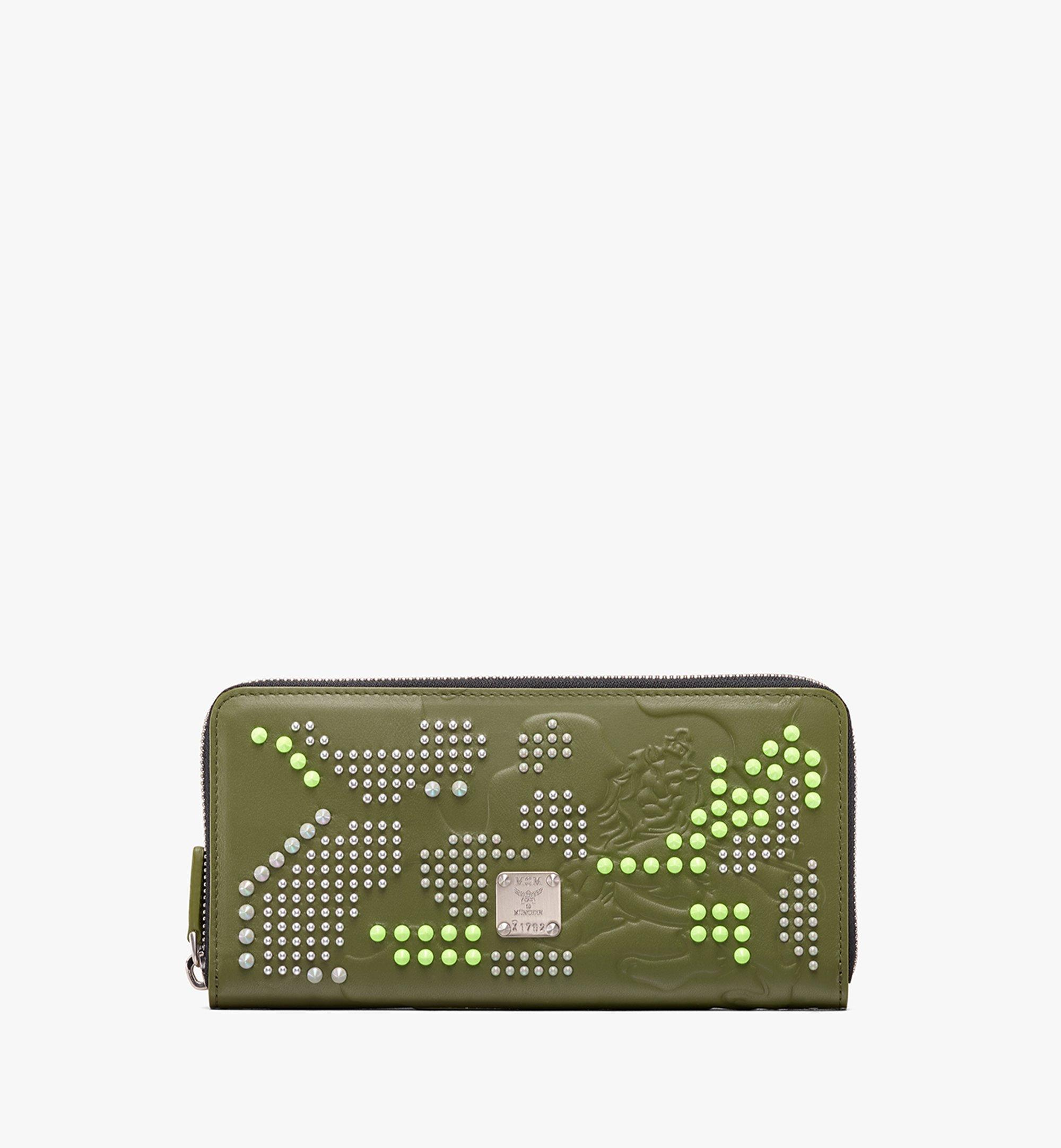 MCM Zip Wallet in Studded Lion Camo Green MXL9ACM02G8001 Alternate View 1