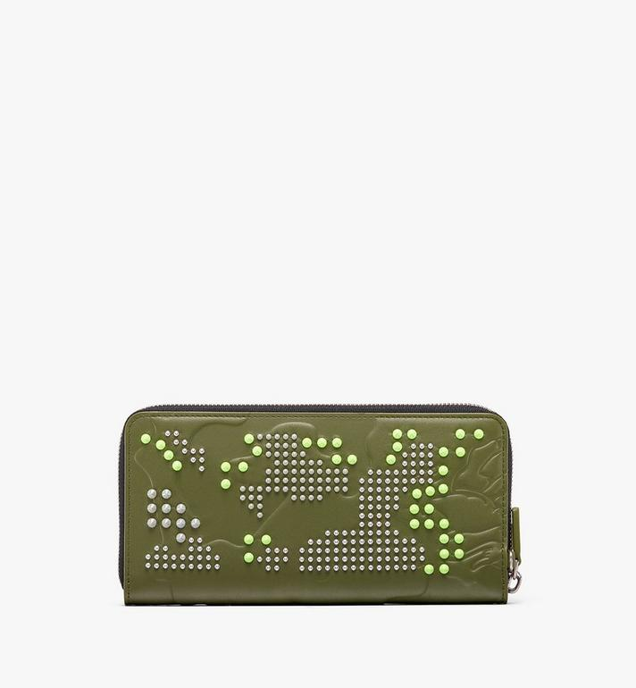 MCM Zip Wallet in Studded Lion Camo Green MXL9ACM02G8001 Alternate View 2