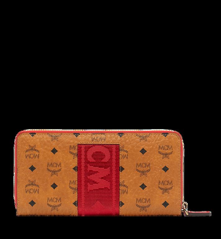 MCM Zip Around Wallet in Webbing Visetos Cognac MXL9SVI89CO001 Alternate View 3