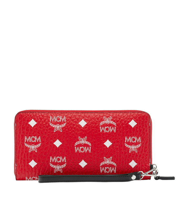 MCM Reissverschlussbrieftasche mit Handgelenksband und Visetos-Logo in Weiss AlternateView3