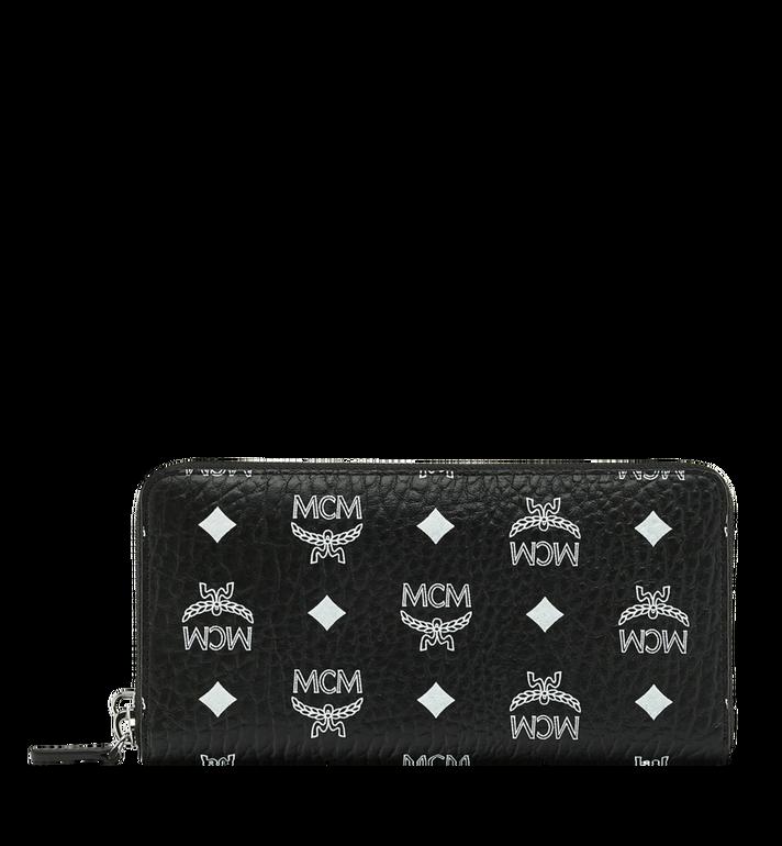 MCM Reissverschlussbrieftasche mit Handgelenksband und Visetos-Logo in Weiss AlternateView