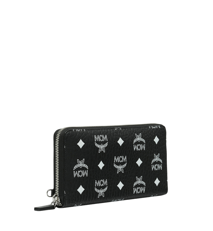MCM Reissverschlussbrieftasche mit Handgelenksband und Visetos-Logo in Weiss AlternateView2