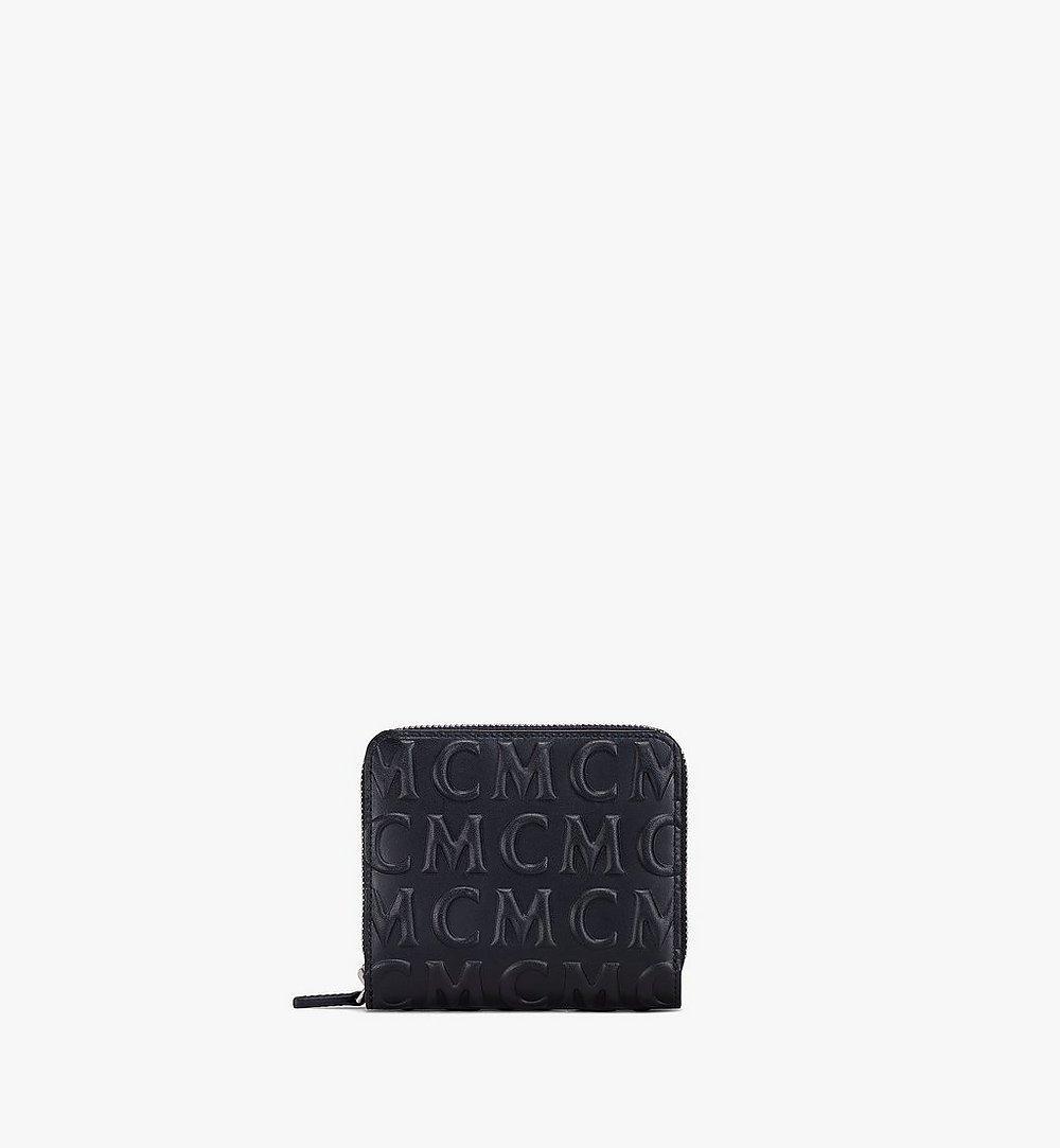 MCM MCM 모노그램 레더 지퍼 지갑 Black MXLAAMD01BK001 다른 각도 보기 1