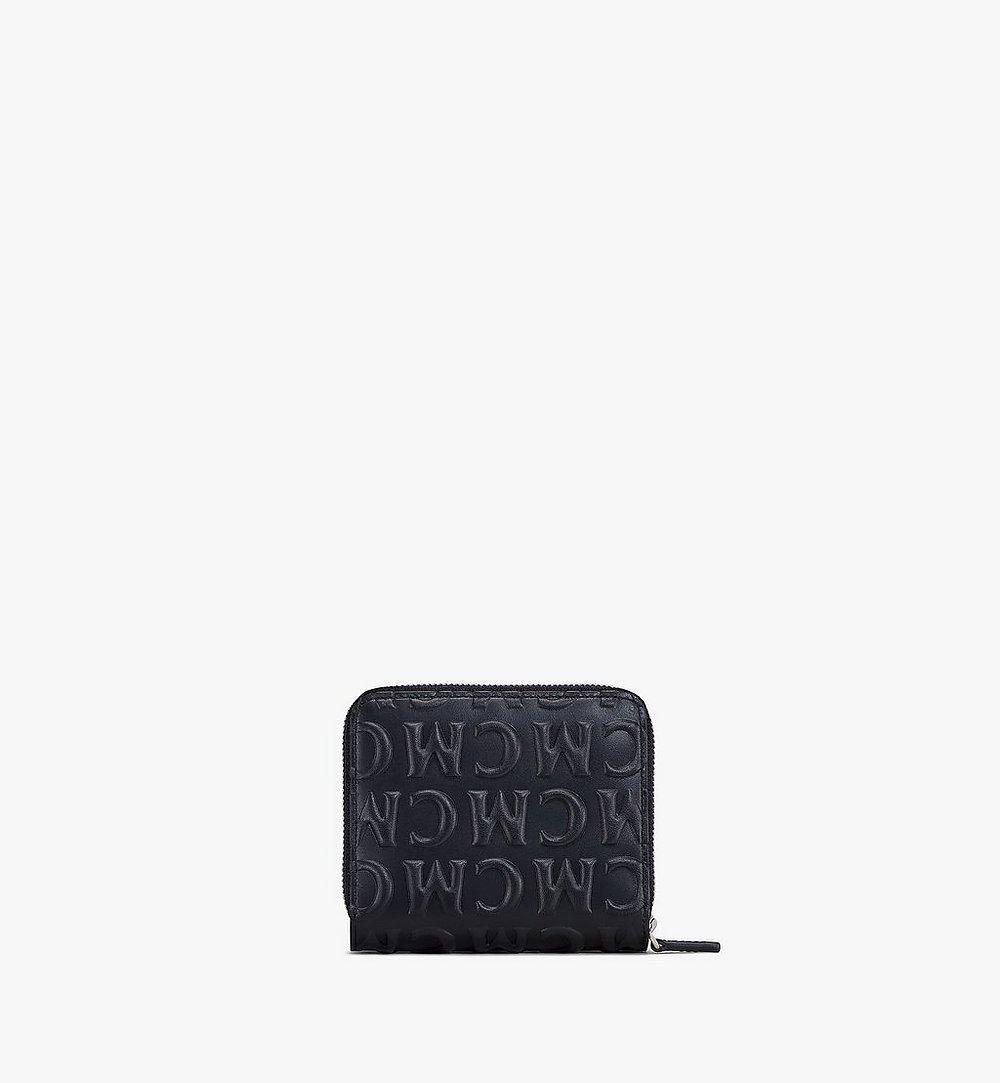 MCM MCM 모노그램 레더 지퍼 지갑 Black MXLAAMD01BK001 다른 각도 보기 2