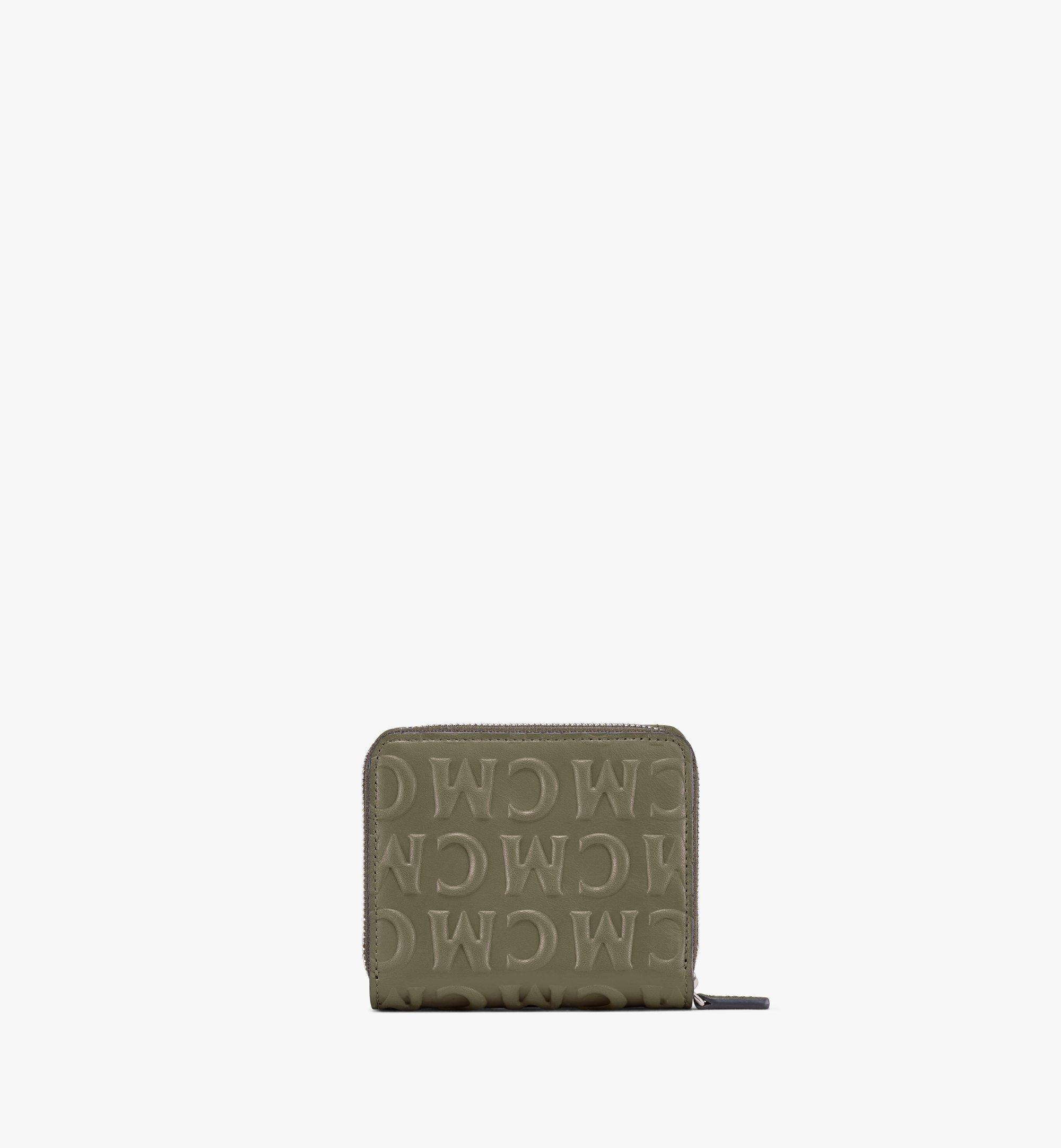 MCM Zip Wallet in MCM Monogram Leather Green MXLAAMD01JH001 Alternate View 2