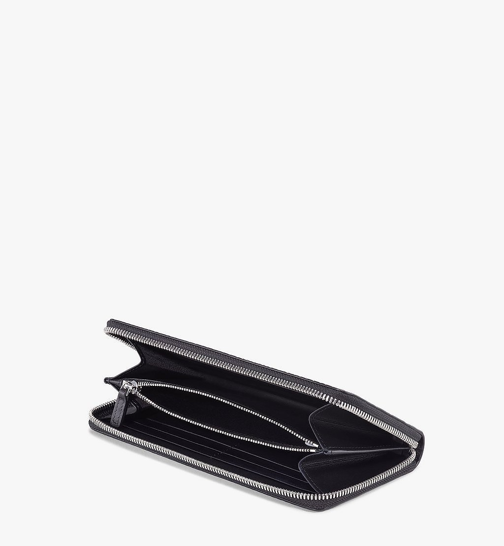 MCM Zip Around Wallet in Visetos Original Black MXLAAVI01BK001 Alternate View 1