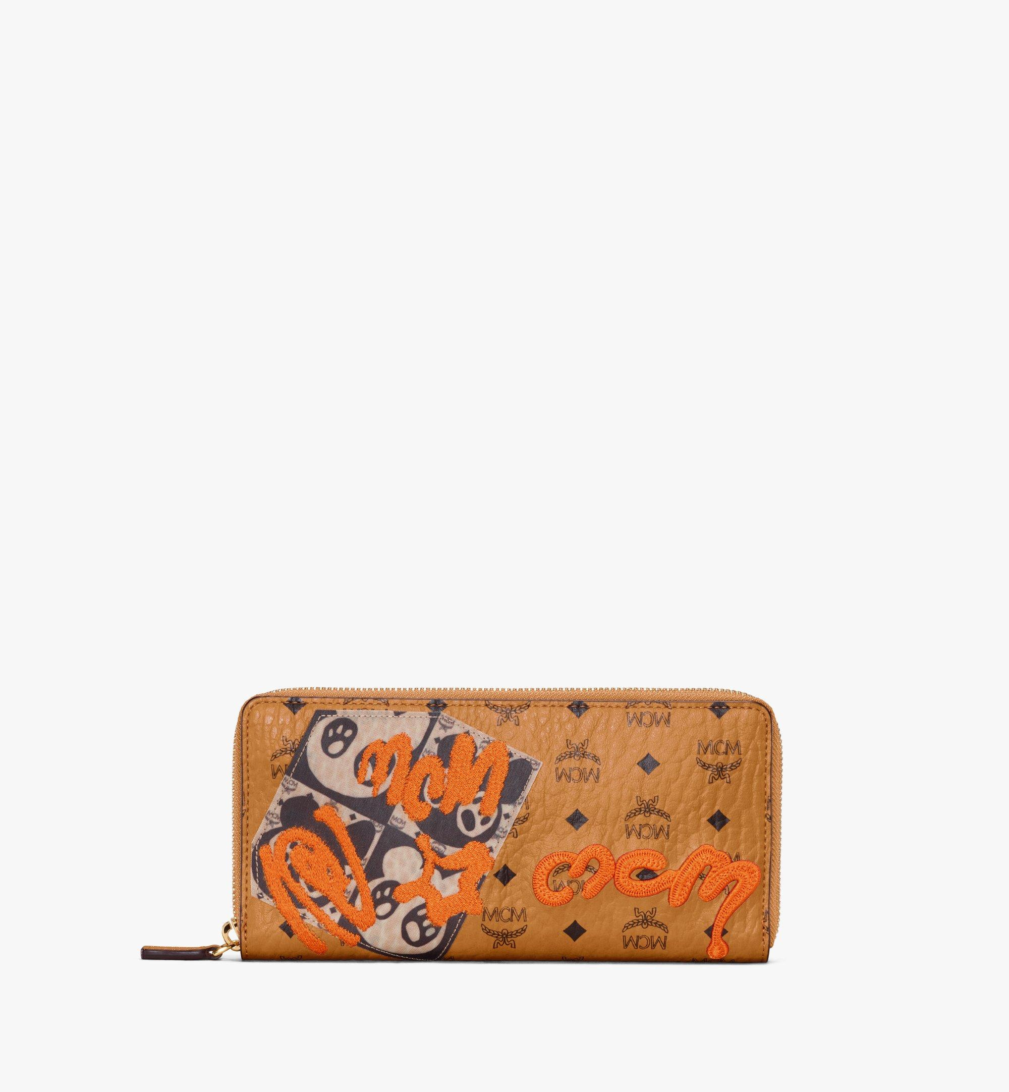 MCM Zip Around Wallet in Berlin Bear Visetos Cognac MXLAAVI03CO001 Alternate View 1