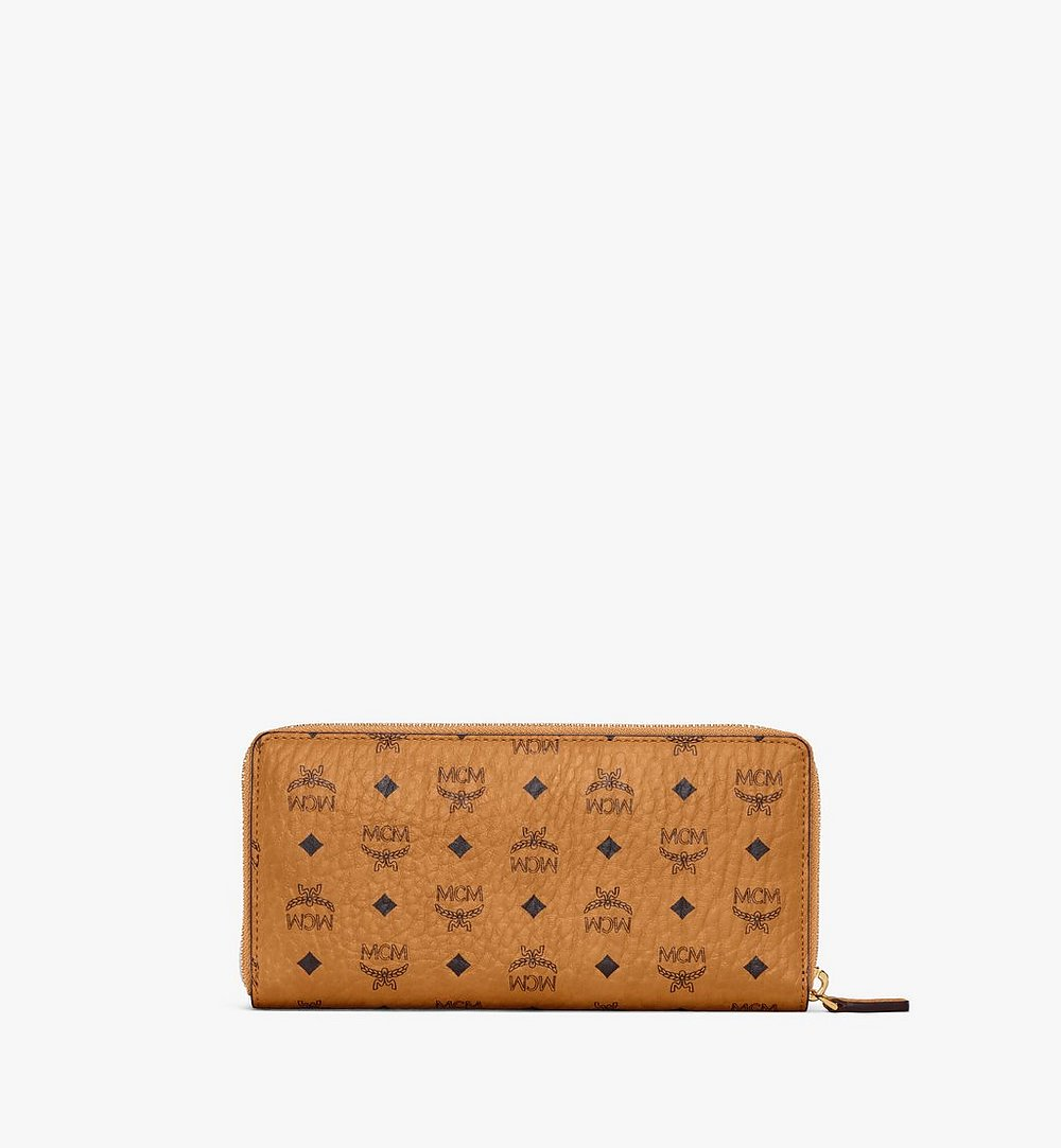 MCM Zip Around Wallet in Berlin Bear Visetos Cognac MXLAAVI03CO001 Alternate View 2
