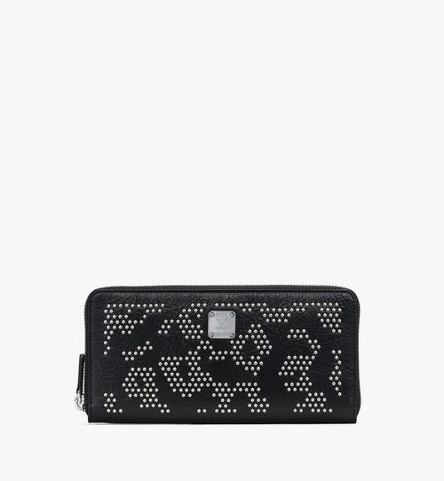 Zip Wallet in Leopard Studded Leather