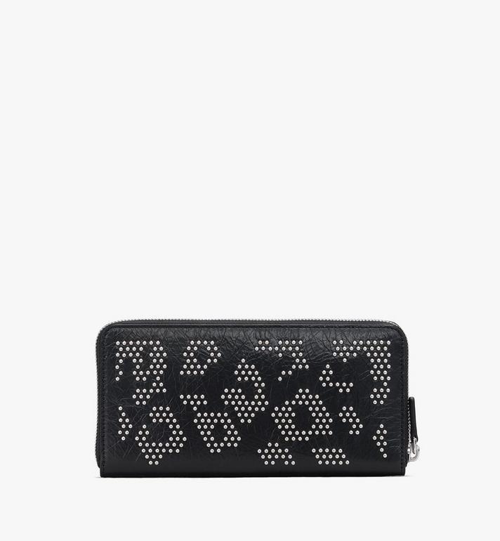 MCM Zip Wallet in Leopard Studded Leather Black MXLASLF02BK001 Alternate View 2