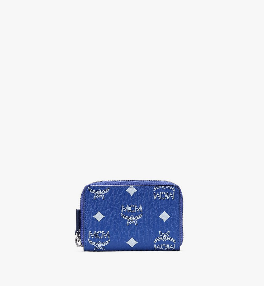 MCM Zip Around Card Wallet in Visetos Blue MXLASVI01H1001 Alternate View 1