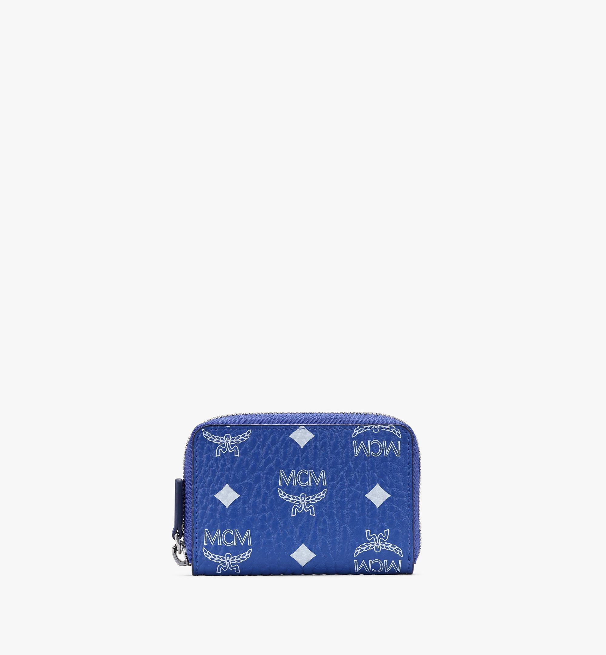MCM Zip Around Card Wallet in Visetos Blue MXLASVI01H1001 Alternate View 1