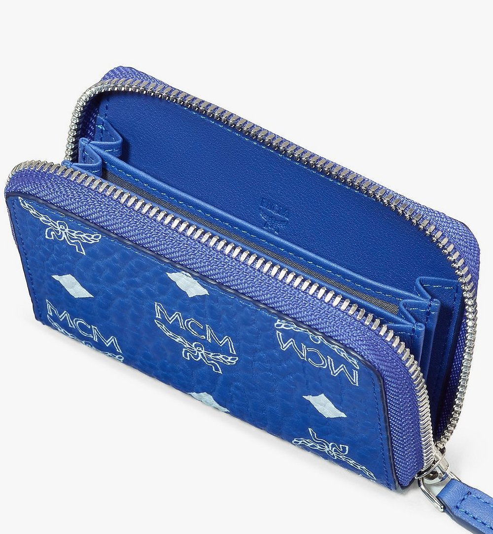 MCM Zip Around Card Wallet in Visetos Blue MXLASVI01H1001 Alternate View 2