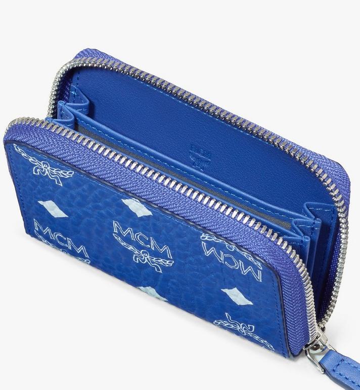 MCM Zip Around Card Wallet in Visetos Blue MXLASVI01H1001 Alternate View 3