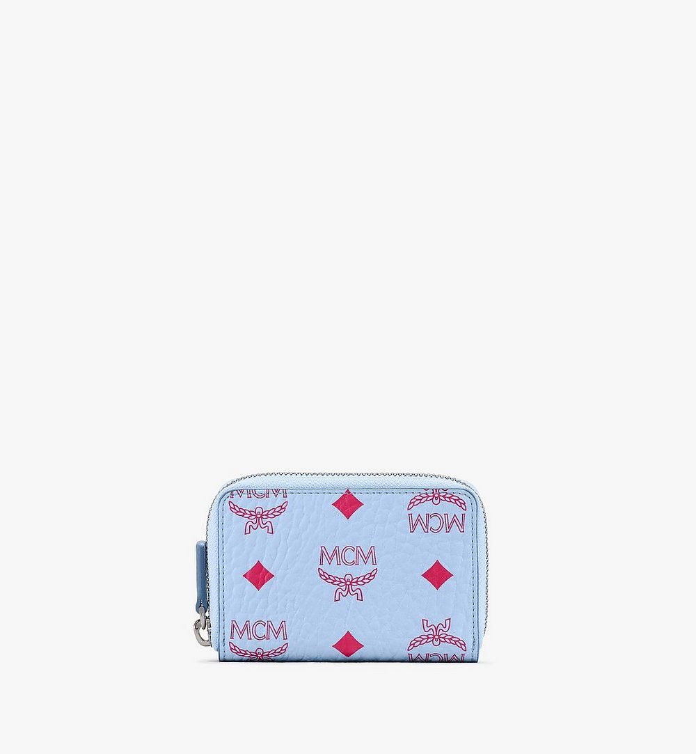 MCM Zip Around Card Wallet in Visetos Blue MXLASVI01H2001 Alternate View 1