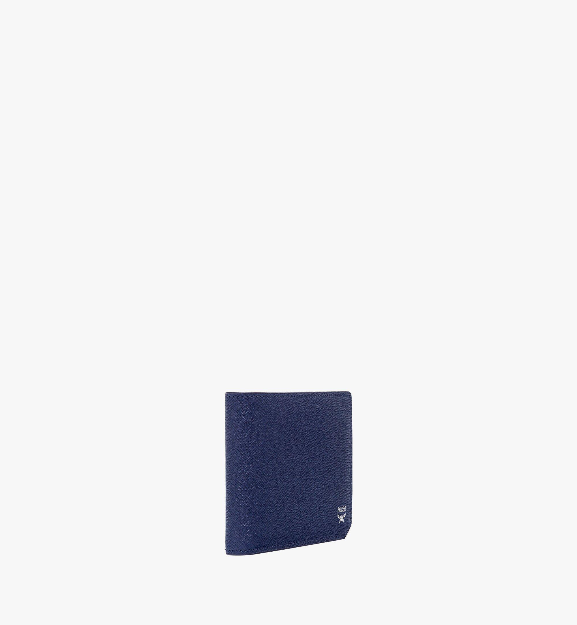 MCM New Bric Bifold with Card Case in Embossed Leather Navy MXS8ALL42VY001 Alternate View 1