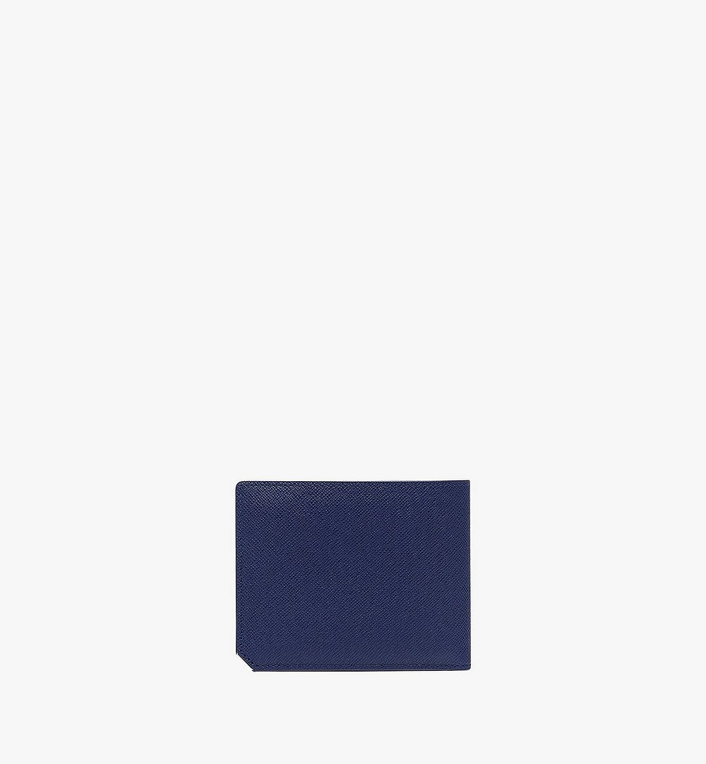 MCM New Bric Bifold with Card Case in Embossed Leather Navy MXS8ALL42VY001 Alternate View 2