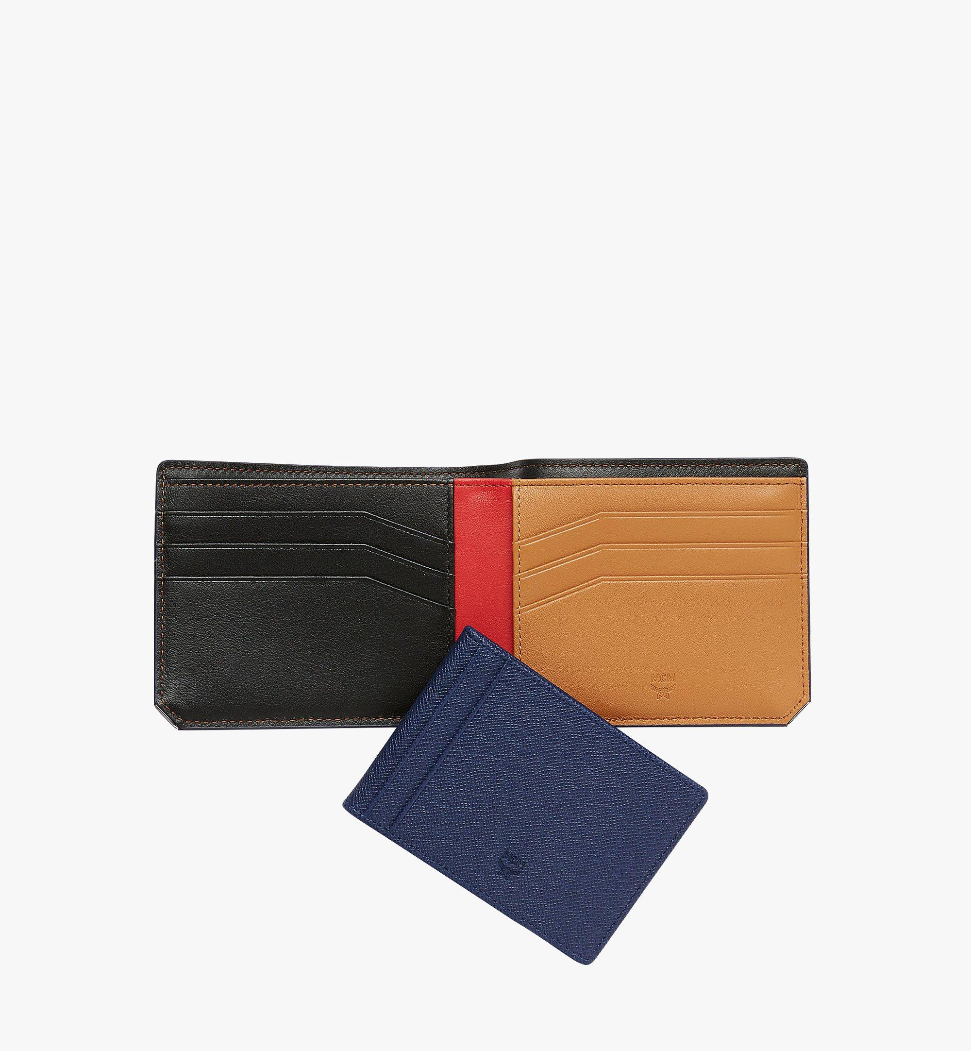 MCM New Bric Bifold with Card Case in Embossed Leather Navy MXS8ALL42VY001 Alternate View 4
