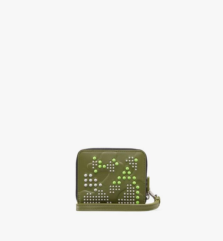 MCM Zip Wallet in Studded Lion Camo Green MXS9ACM04G8001 Alternate View 2