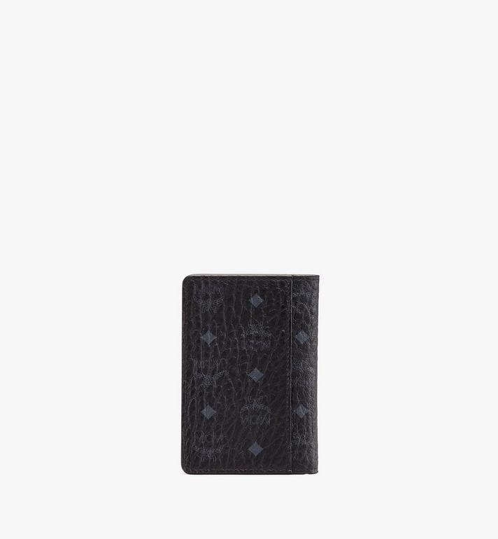 MCM Two Fold Card Wallet in Visetos Black MXS9AVI53BK001 Alternate View 2