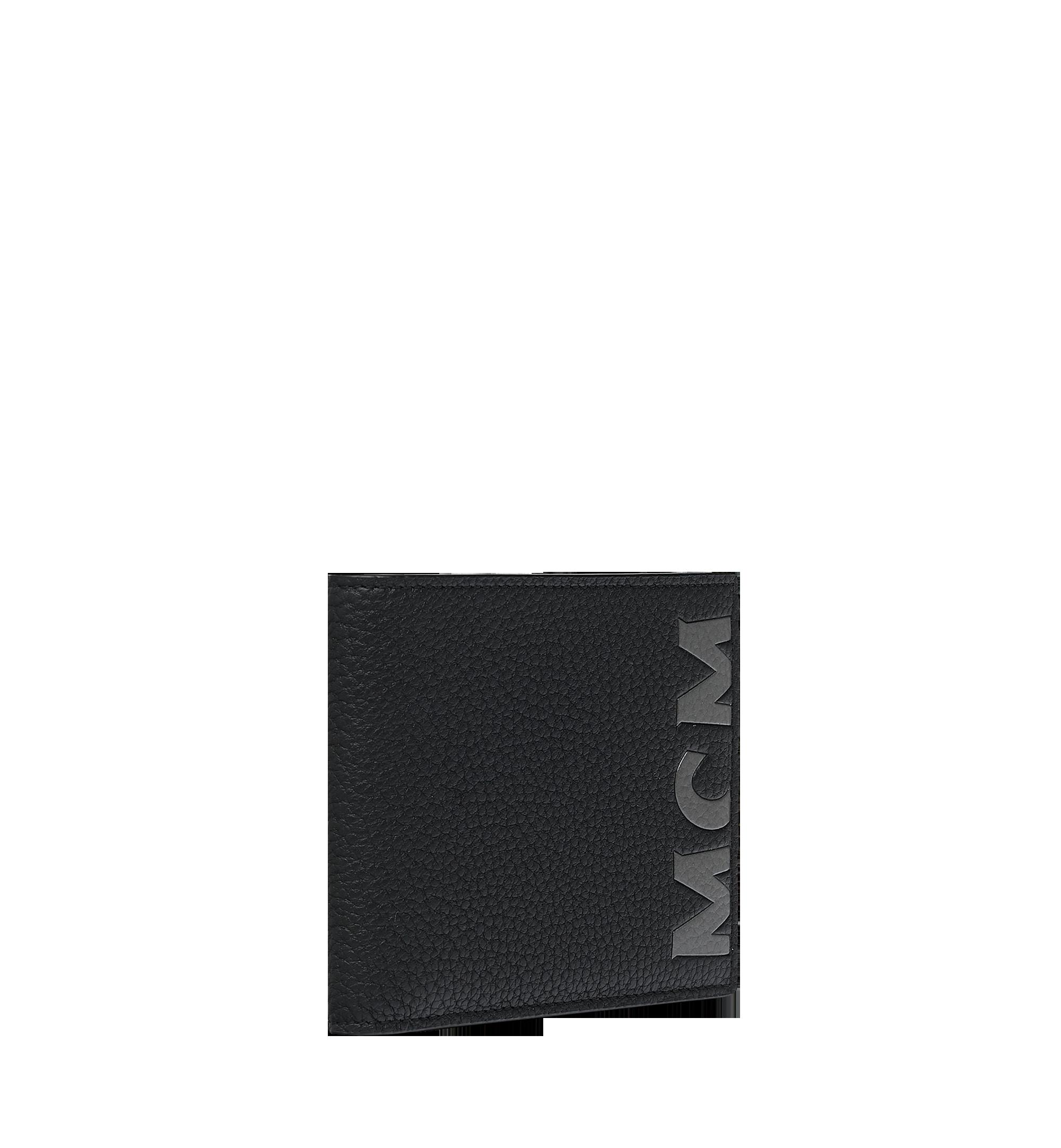 MCM Bifold Wallet in Logo Print Leather Black MXS9SBM03BK001 Alternate View 1