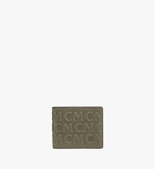 Portefeuille à deux volets en cuir monogrammé MCM