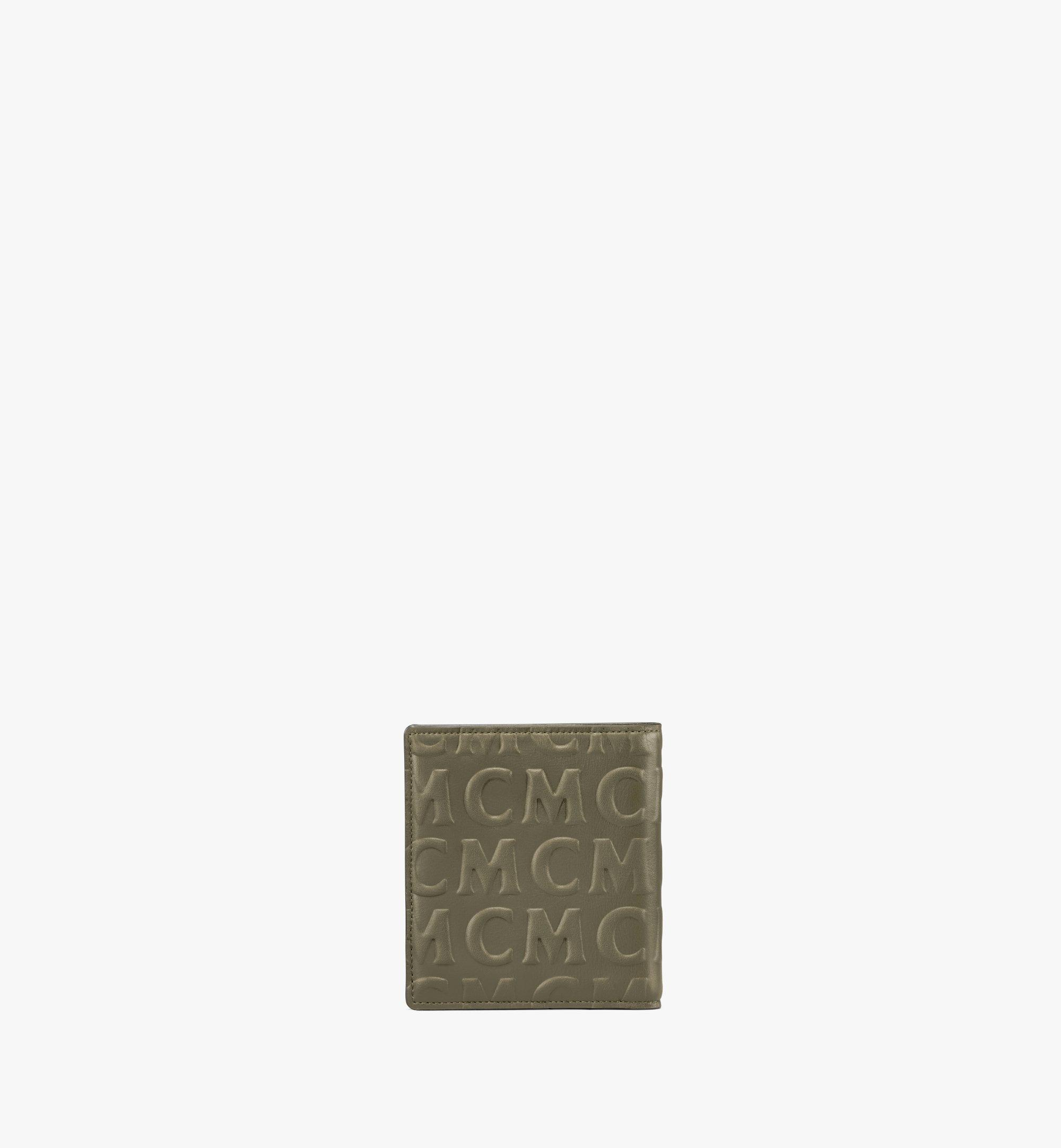 MCM Bifold Card Wallet in MCM Monogram Leather Green MXSAAMD02JH001 Alternate View 2