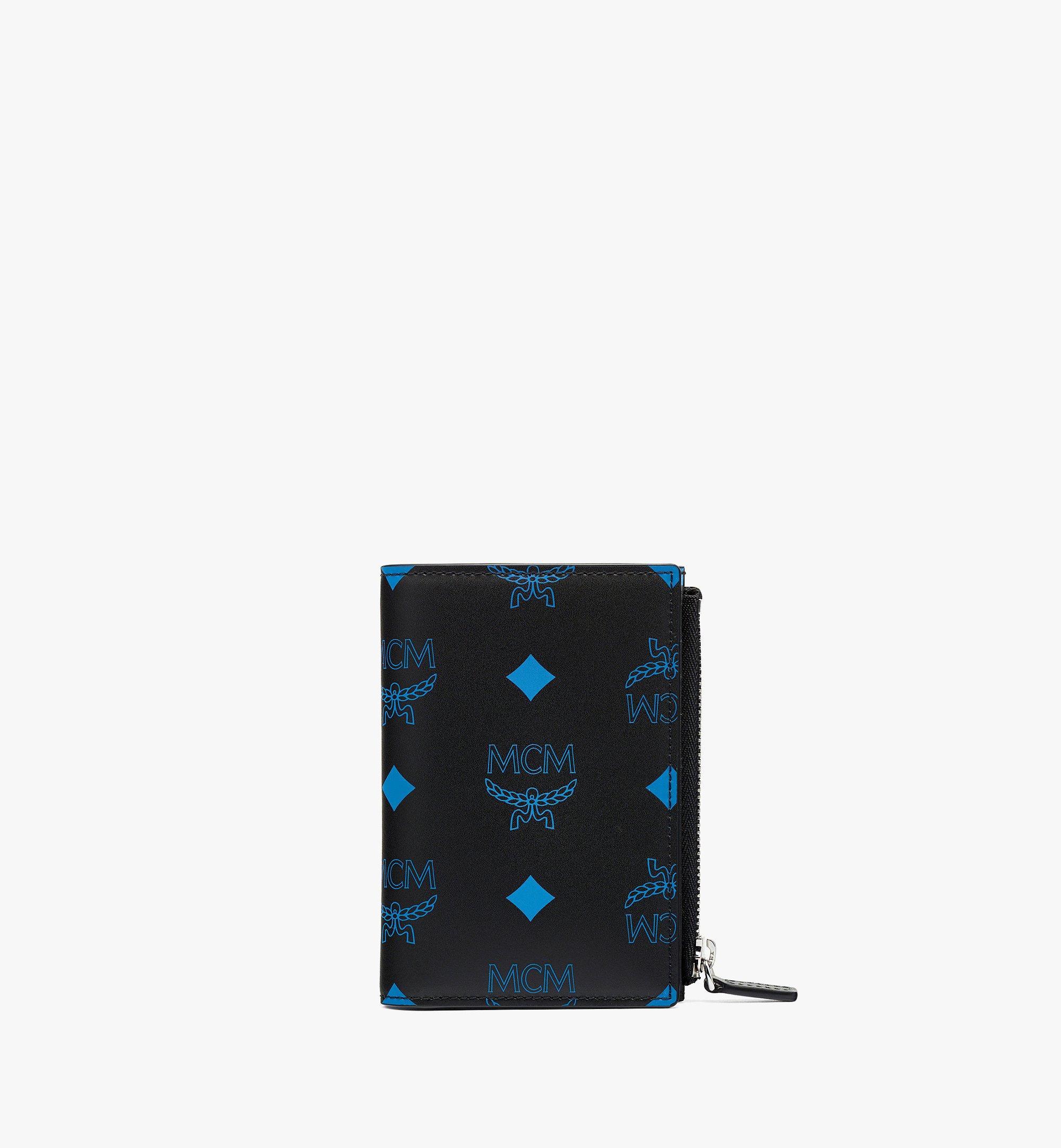 MCM Bifold Card Wallet in Color Splash Logo Leather Blue MXSBASX02H9001 Alternate View 1