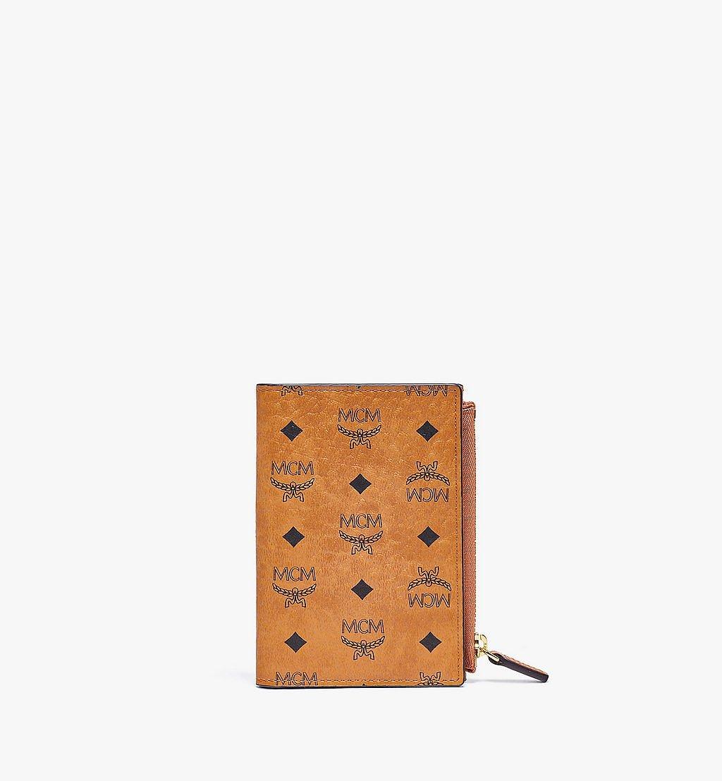 MCM Bifold Zip Card Wallet in Visetos Original Cognac MXSBSVI01CO001 Alternate View 1