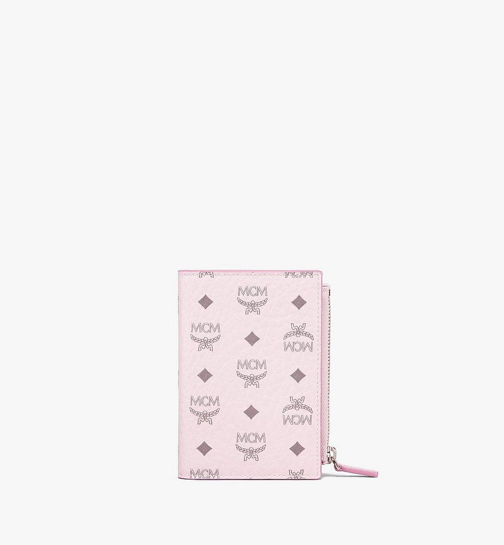 MCM Bifold Zip Card Wallet in Visetos Original Pink MXSBSVI01QH001 Alternate View 1