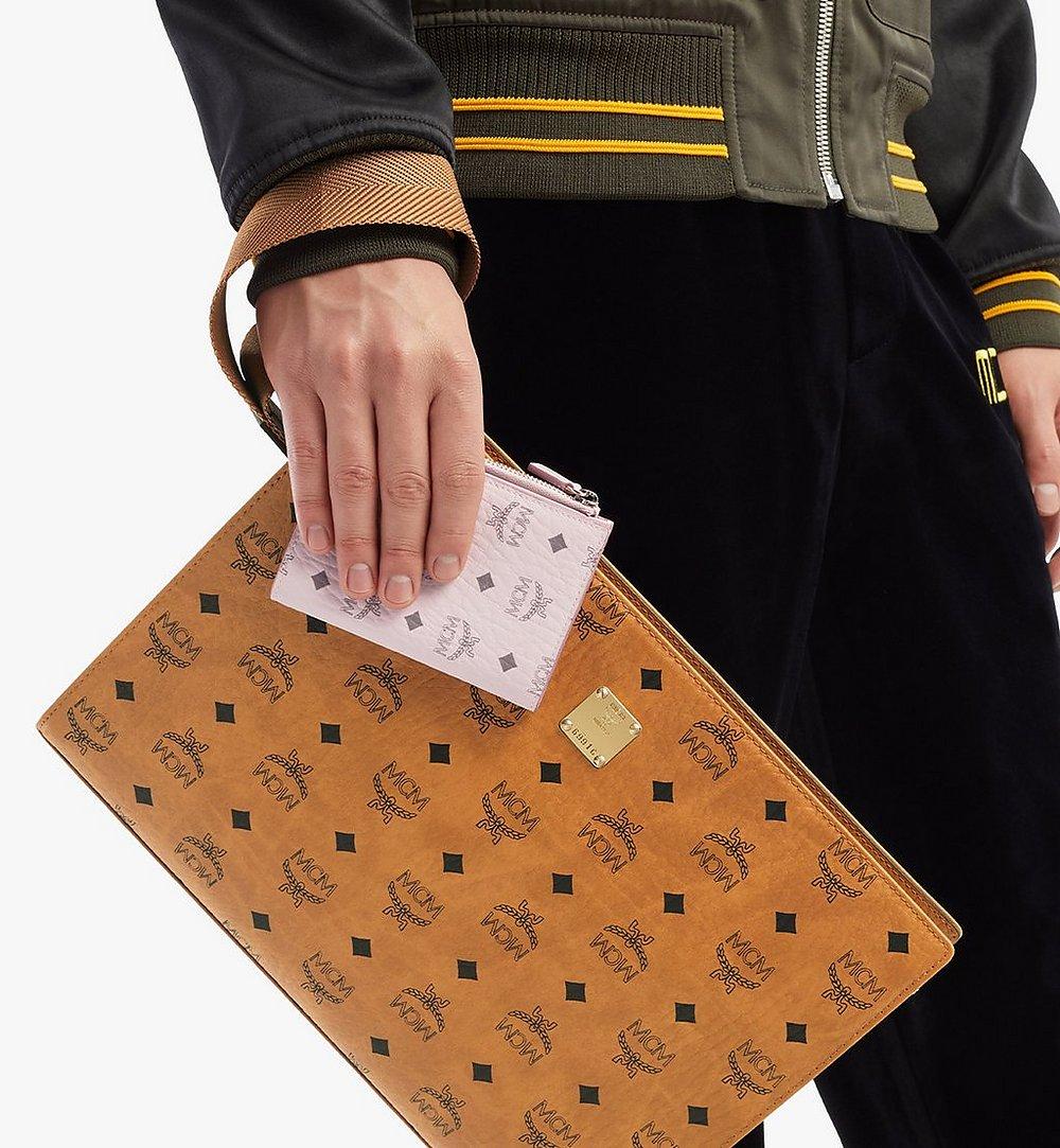 MCM Bifold Zip Card Wallet in Visetos Original Pink MXSBSVI01QH001 Alternate View 2