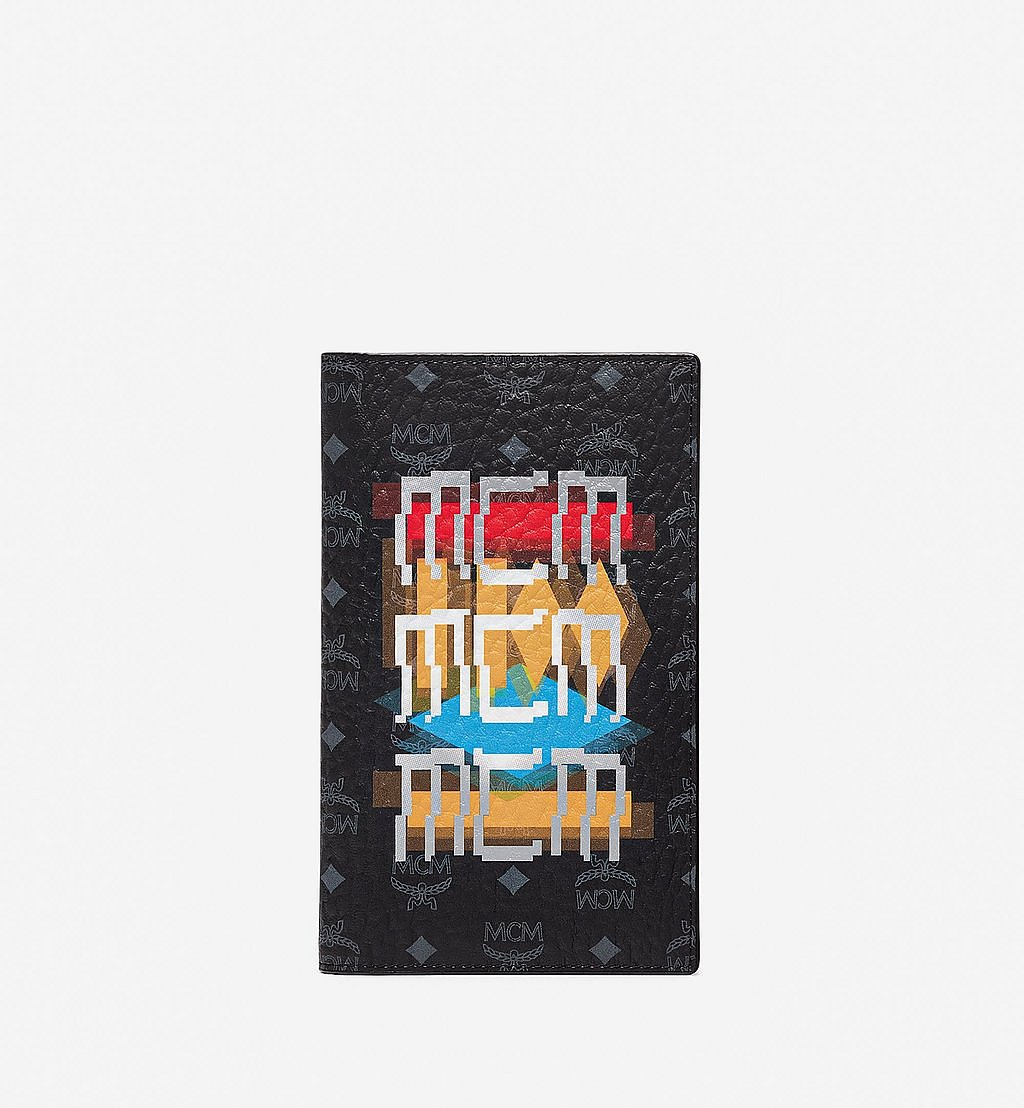 MCM Passport Holder in Geo Graffiti Visetos Black MXVBSSX01BK001 Alternate View 1
