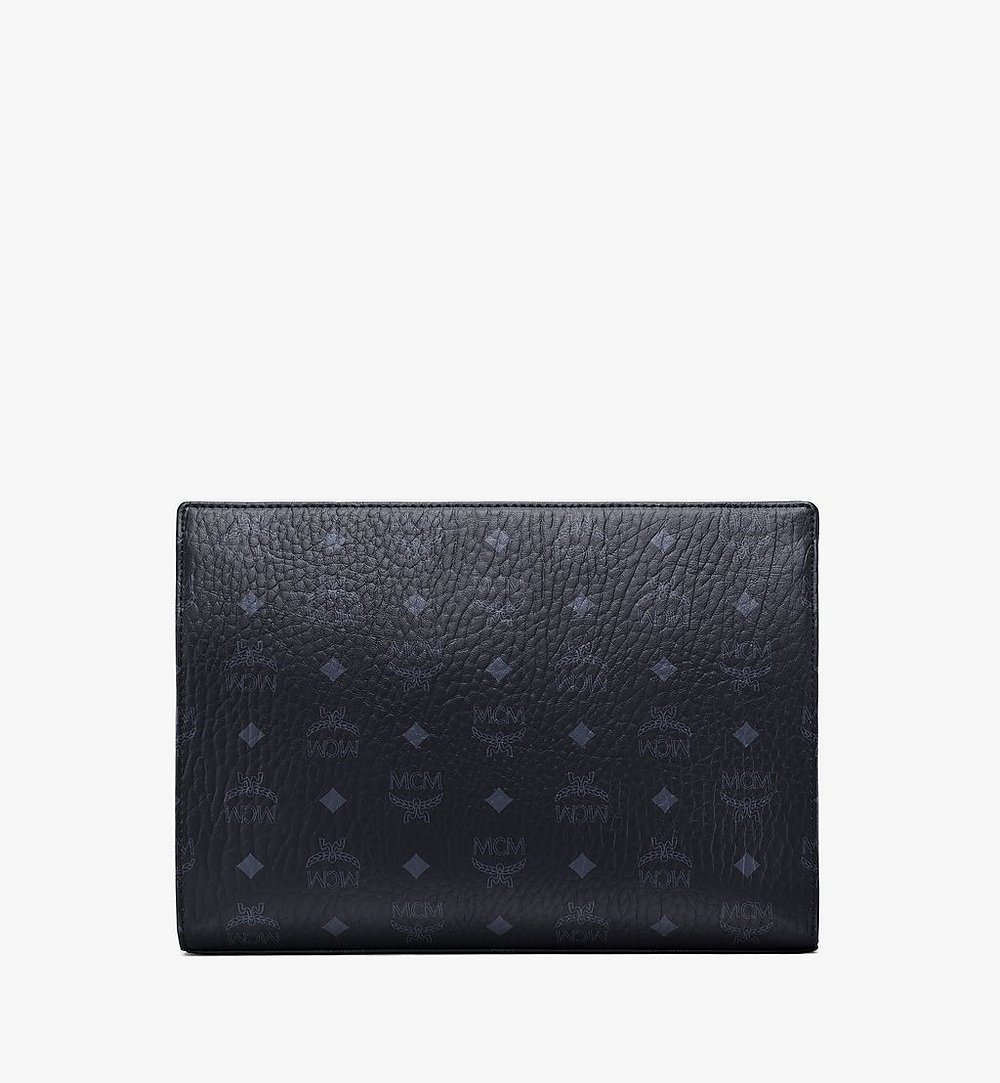 MCM Zip Pouch in Visetos Original Black MXZ8SVI70BK001 Alternate View 3