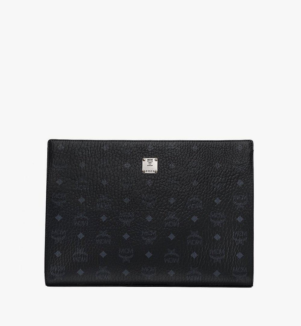MCM Zip Pouch in Visetos Original Black MXZ8SVI71BK001 Alternate View 1