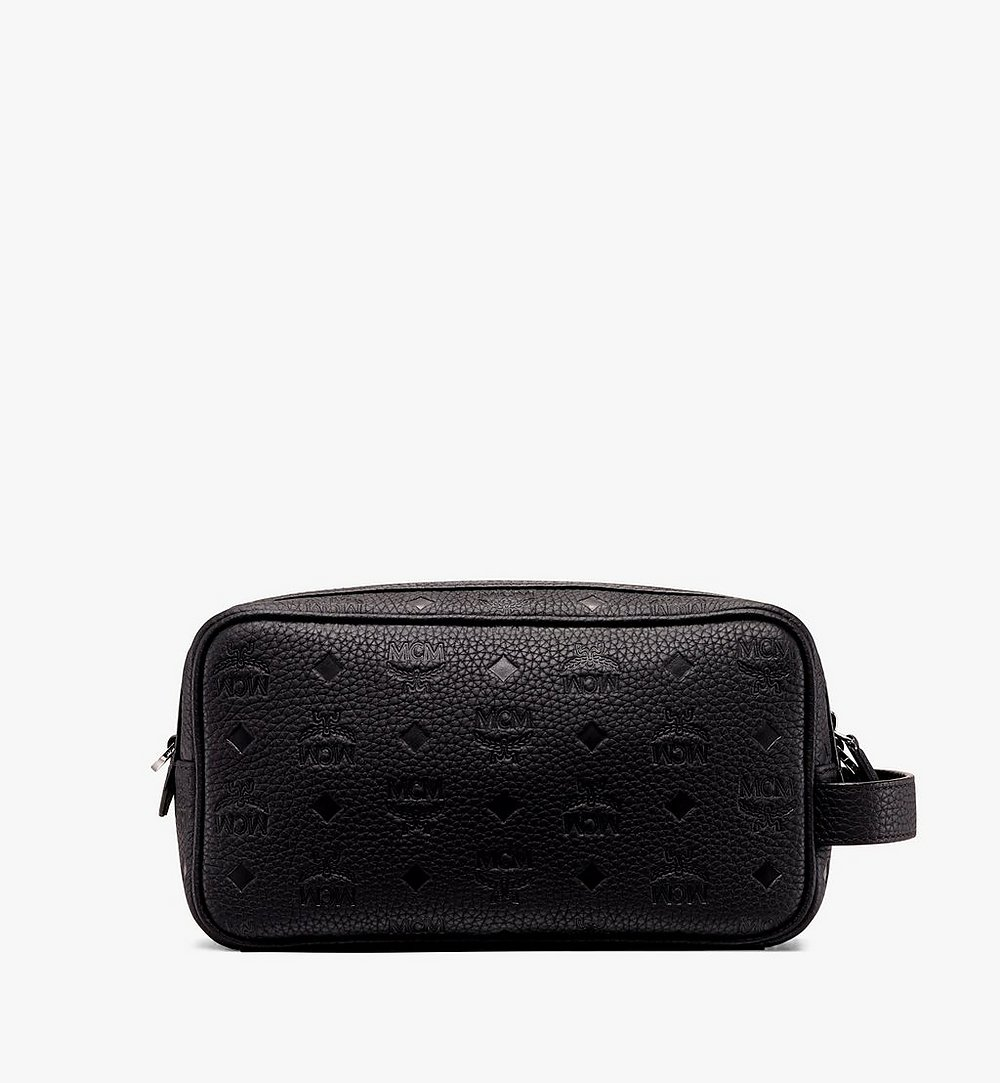 MCM Tivitat Wash Bag in Monogram Leather Black MXZ9ABT28BK001 Alternate View 2