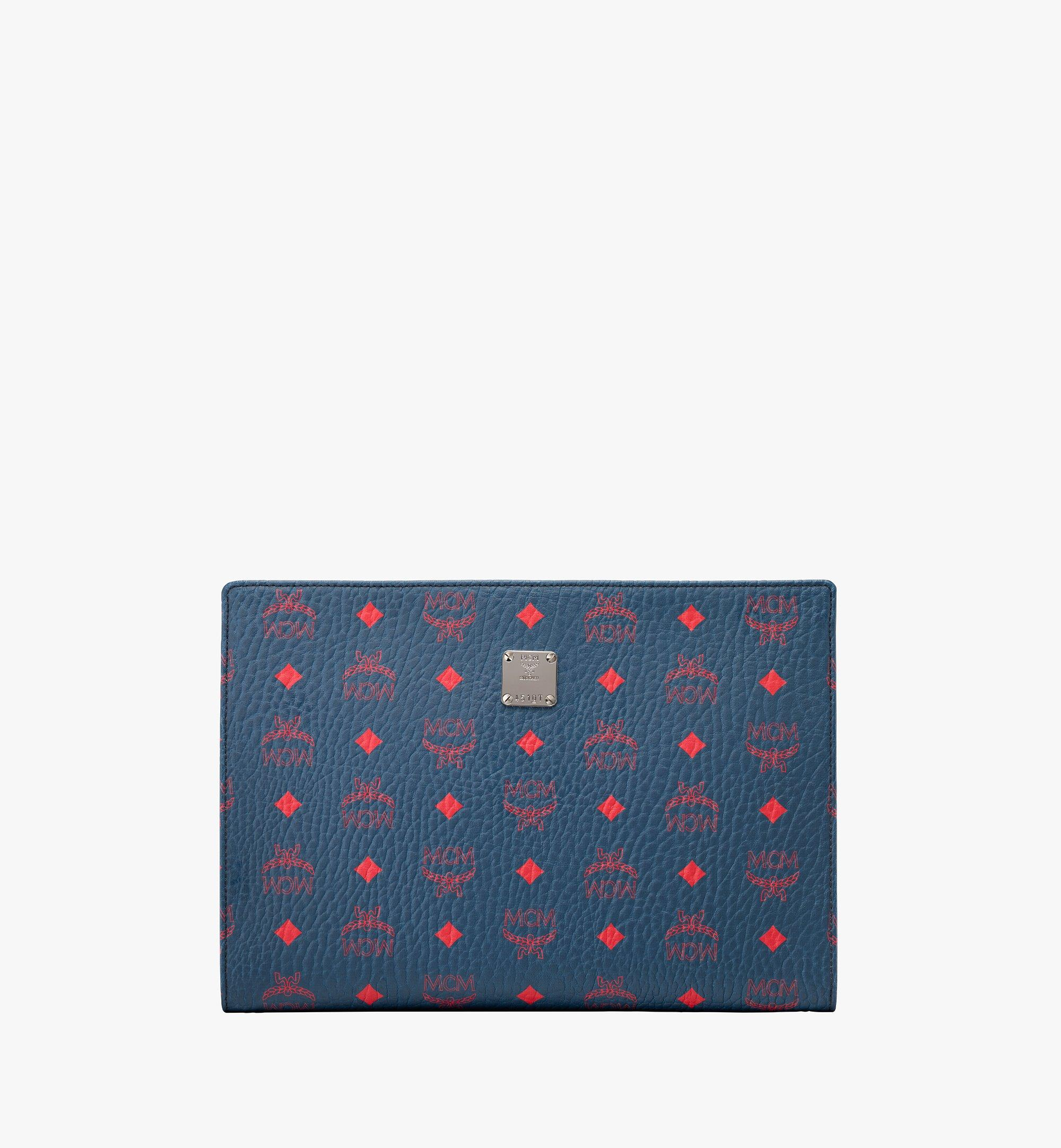 MCM Zip Pouch in Visetos Blue MXZ9AVI32VS001 Alternate View 1