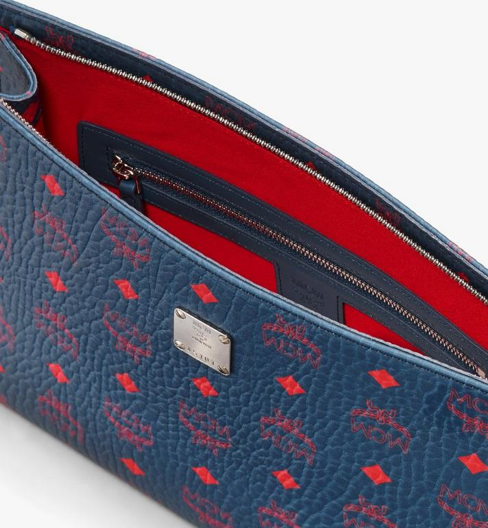 MCM Zip Pouch in Visetos Blue MXZ9AVI32VS001 Alternate View 3