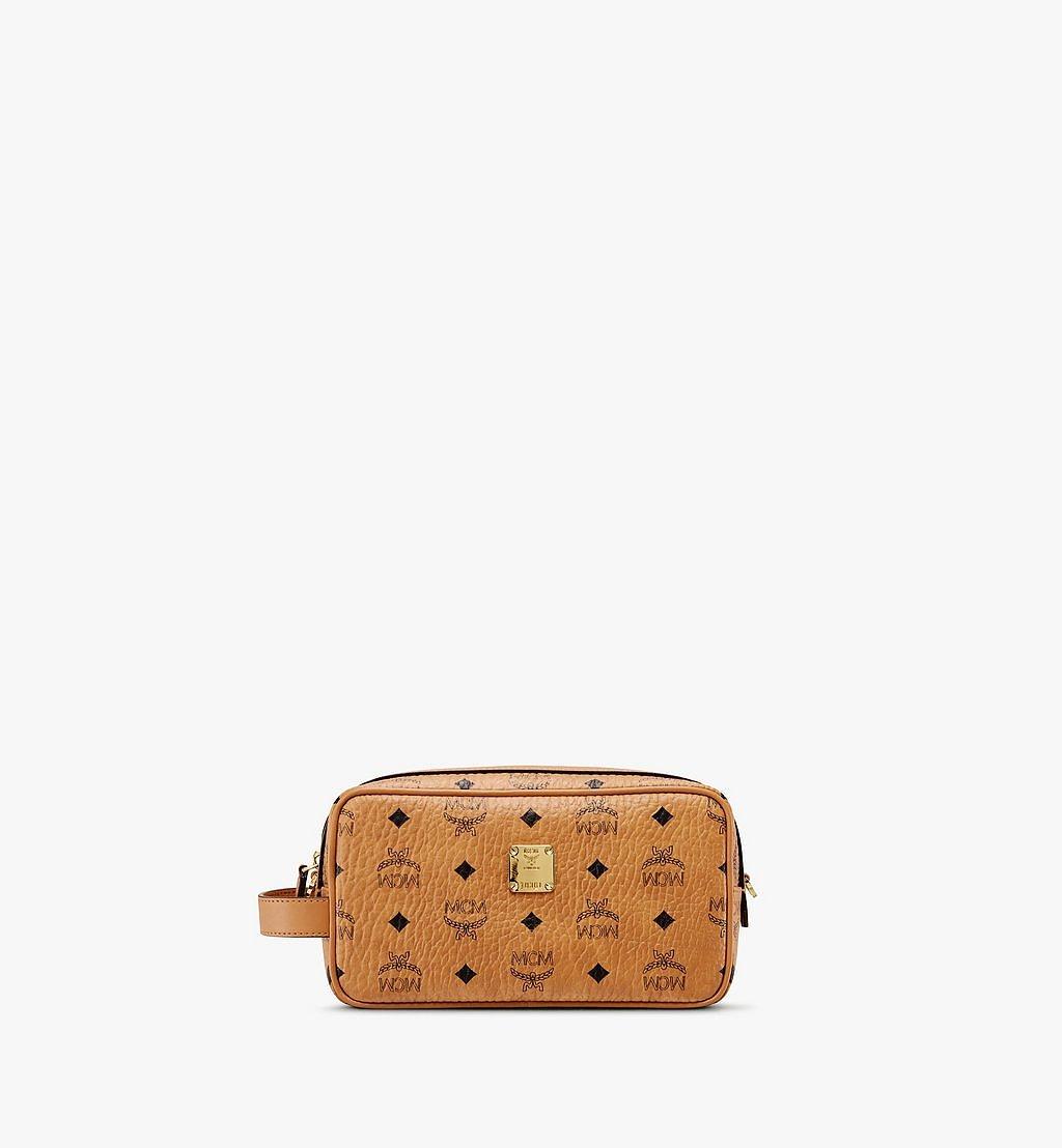 MCM Wash Bag in Visetos Cognac MXZ9AVI51CO001 Alternate View 1