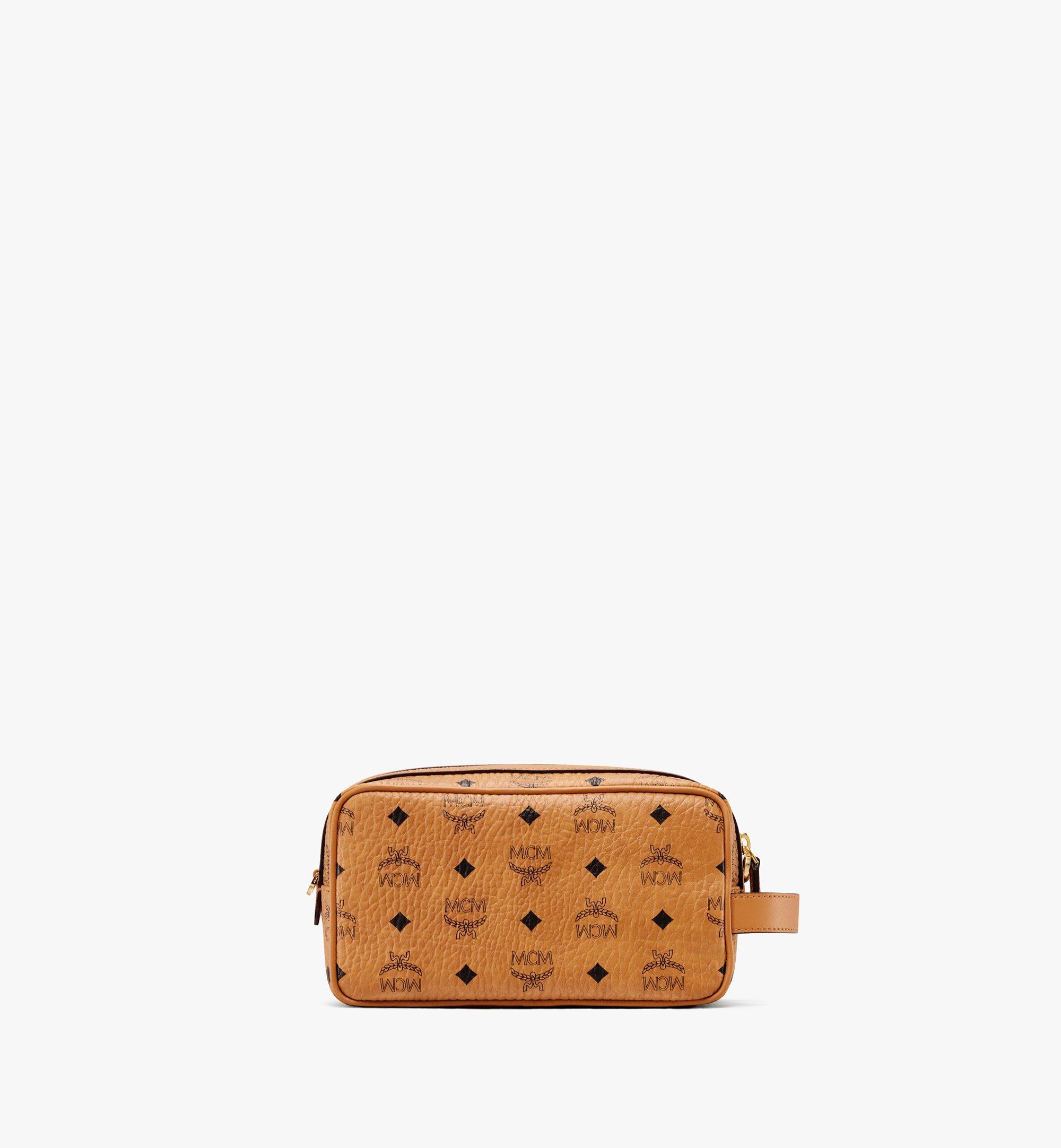 One Size Kulturbeutel in Visetos Cognac   MCM® DE