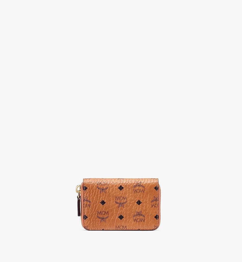 MCM Zip Wallet in Visetos Cognac MXZ9AVI57CO001 Alternate View 1